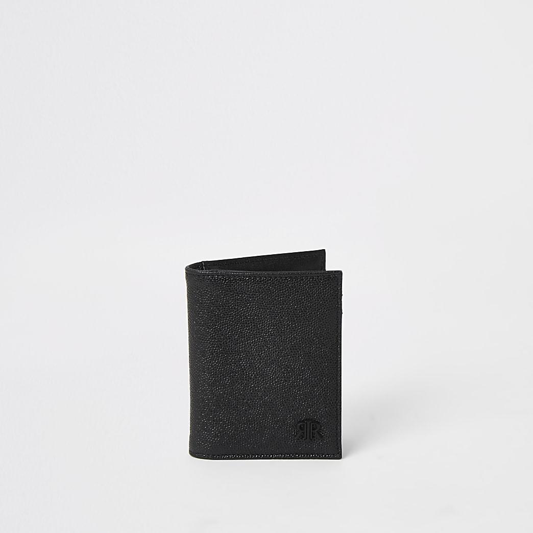 Portefeuille RIR à rabat en cuir noir texturé