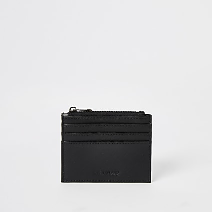 Black zip top cardholder wallet
