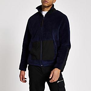 Marineblaues Sweatshirt aus Teddy-Fleece mit Kurzreißverschluss