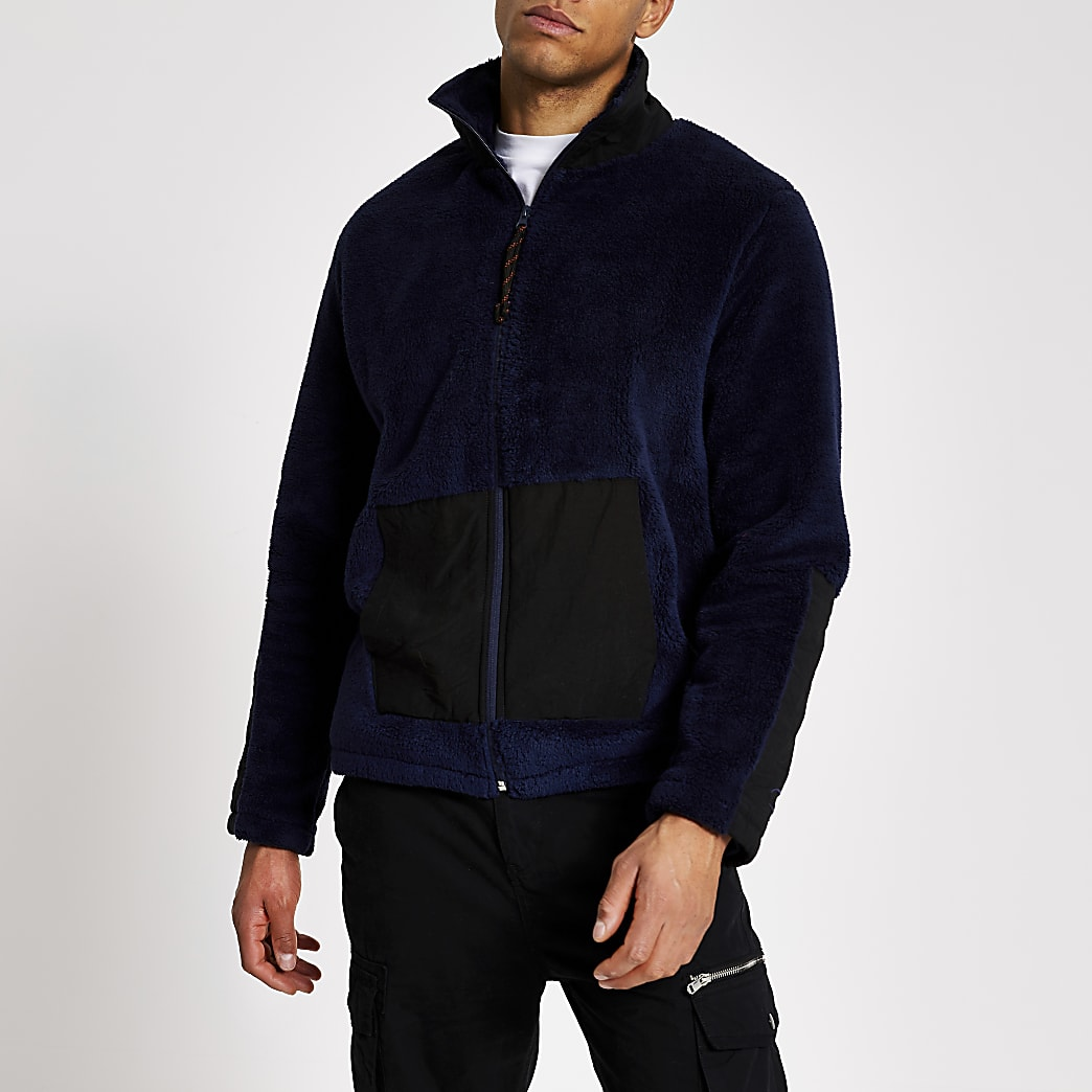 Marineblauwe teddy fleecesweater met halve ritssluiting