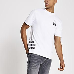 Maison Riviera – Weißes, bedrucktes T-Shirt im Slim Fit