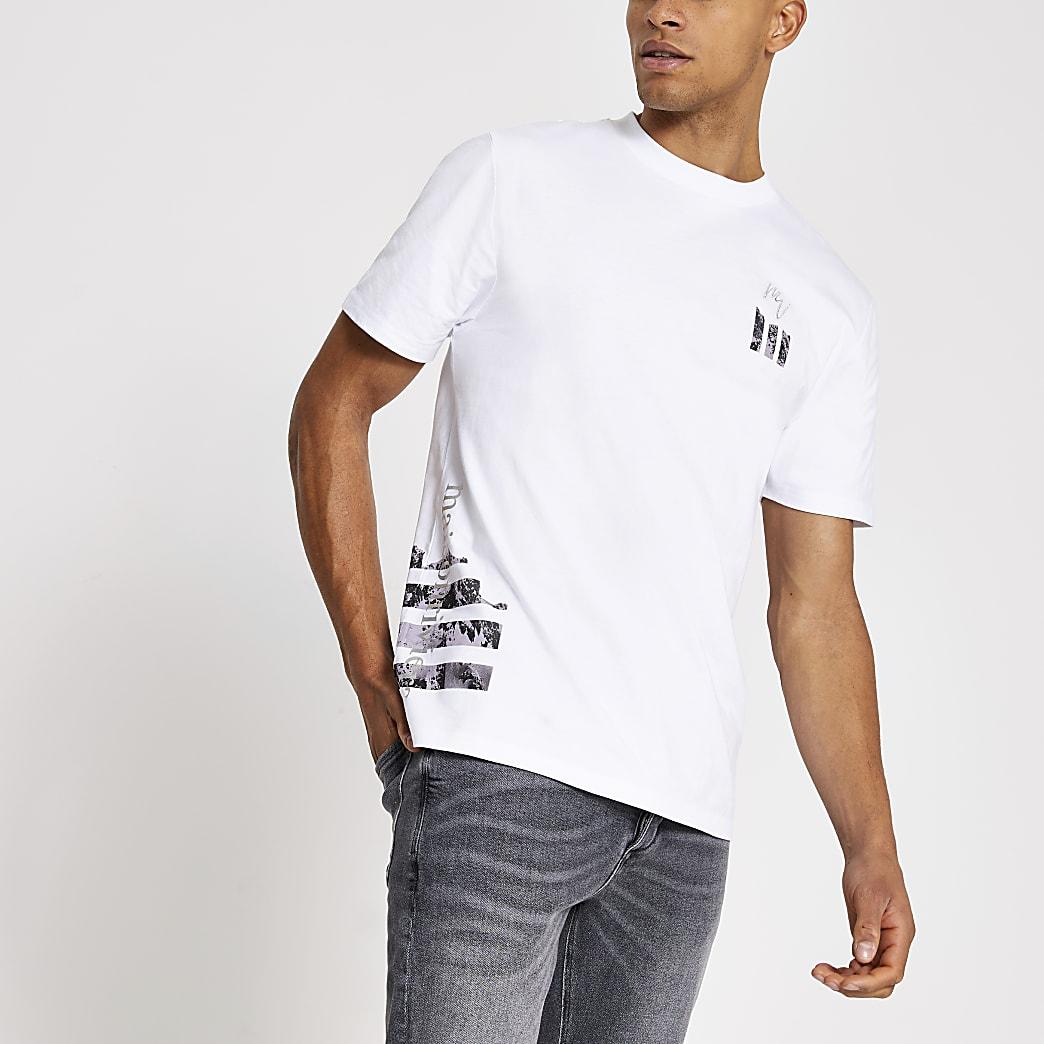 Maison Riviera white print slim fit T-shirt