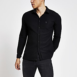 Maison Riviera - Zwart geribbeld slim-fit overhemd