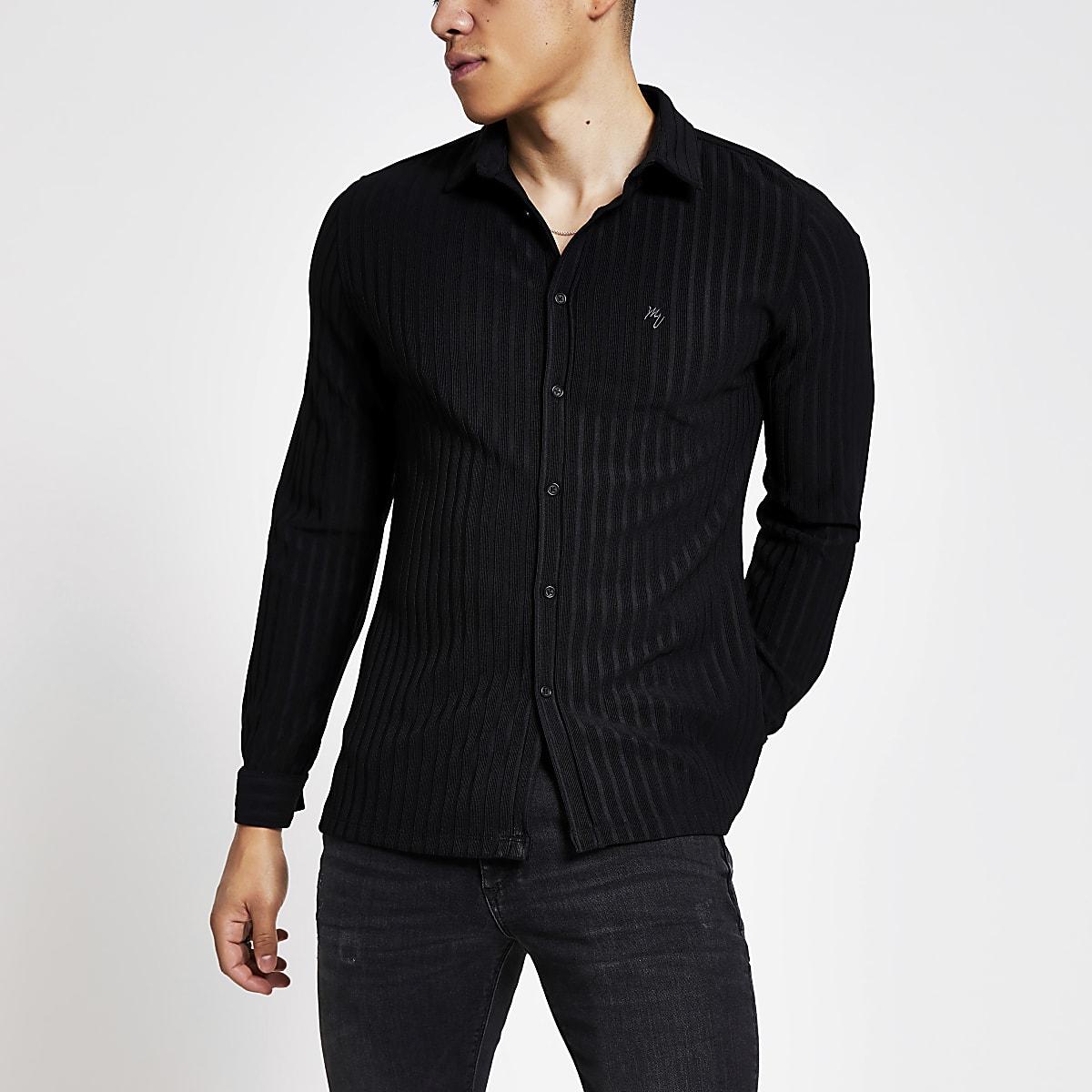 Chemise slim en jersey côtelé noir