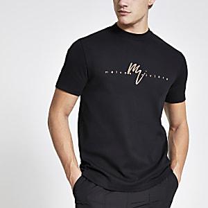 Maison Riviera – Schwarzes T-Shirt im Slim Fit mit Folie