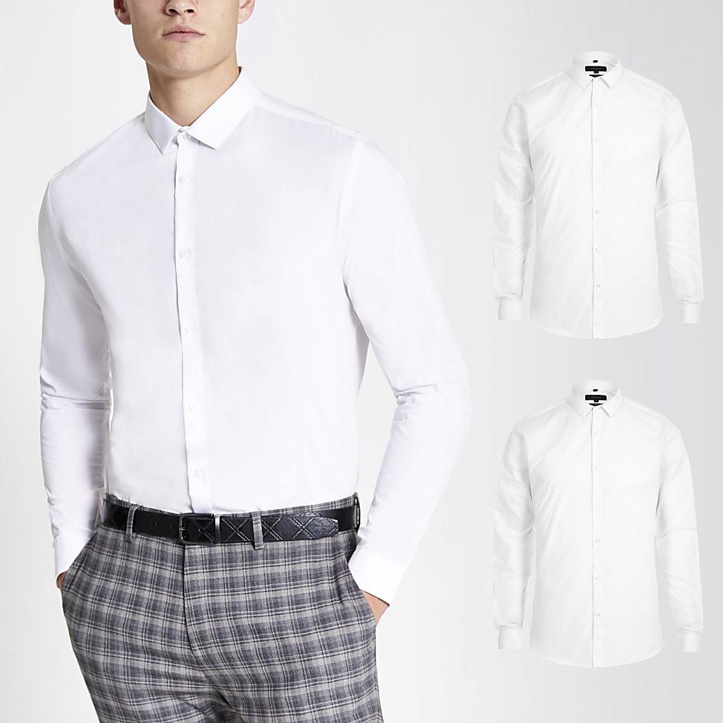 Set van 2 witte slim-fit overhemden met lange mouwen