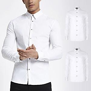 Weißes, langärmeliges Hemd im Muscle Fit im 2er-Pack