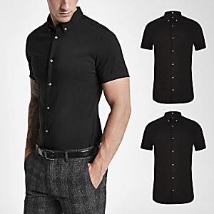 Set van 2 Zwarte muscle-fit overhemden met korte mouwen
