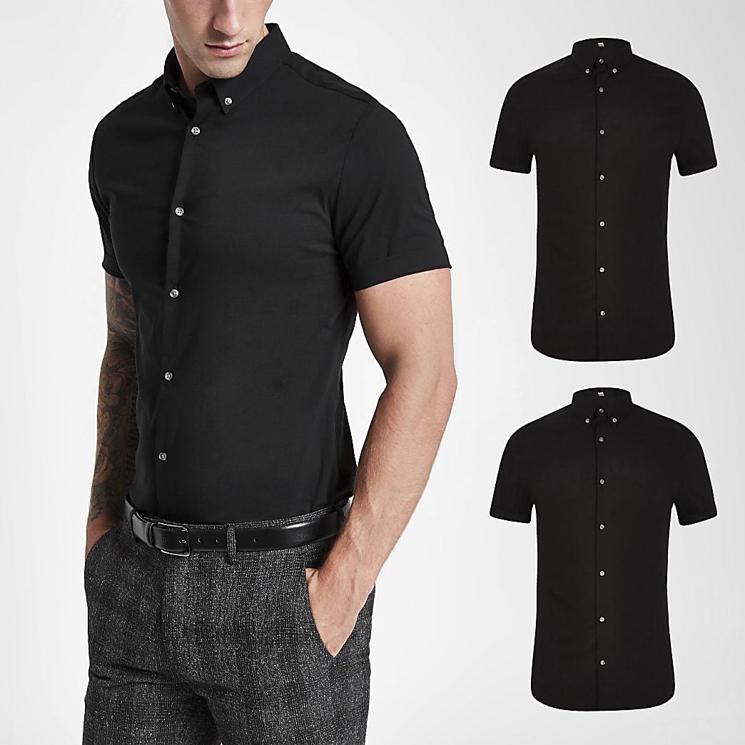 Kurzärmeliges Muscle Fit Hemd in Schwarz, 2er-Set