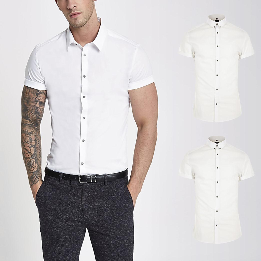 Set van 2 witte muscle-fit overhemden met korte mouwen