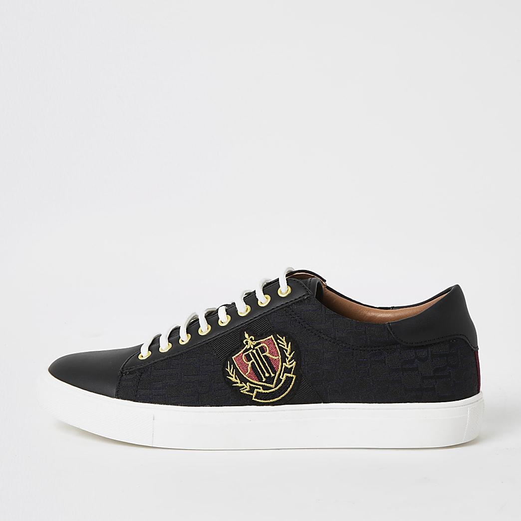 Zwarte jacquard sneakers met vetersluiting en RI-print