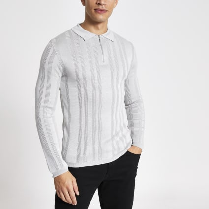 Grey textured muscle fit zip neck polo shirt