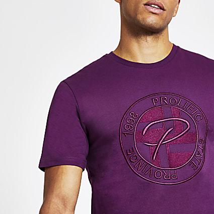 Prolific purple embossed slim fit T-shirt