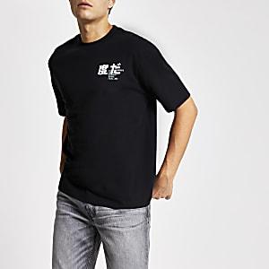 Zwart boxy-fit T-shirt met neon city print op de achterkant