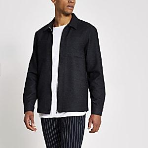 Marineblauw regular fit overhemd met textuur en ritssluiting