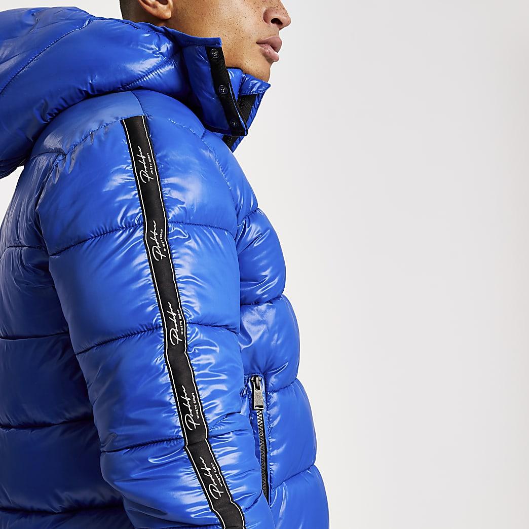 Prolific - Blauw gewatteerd jack met tape langs de mouwen