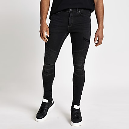 Black Ollie spray on biker jeans