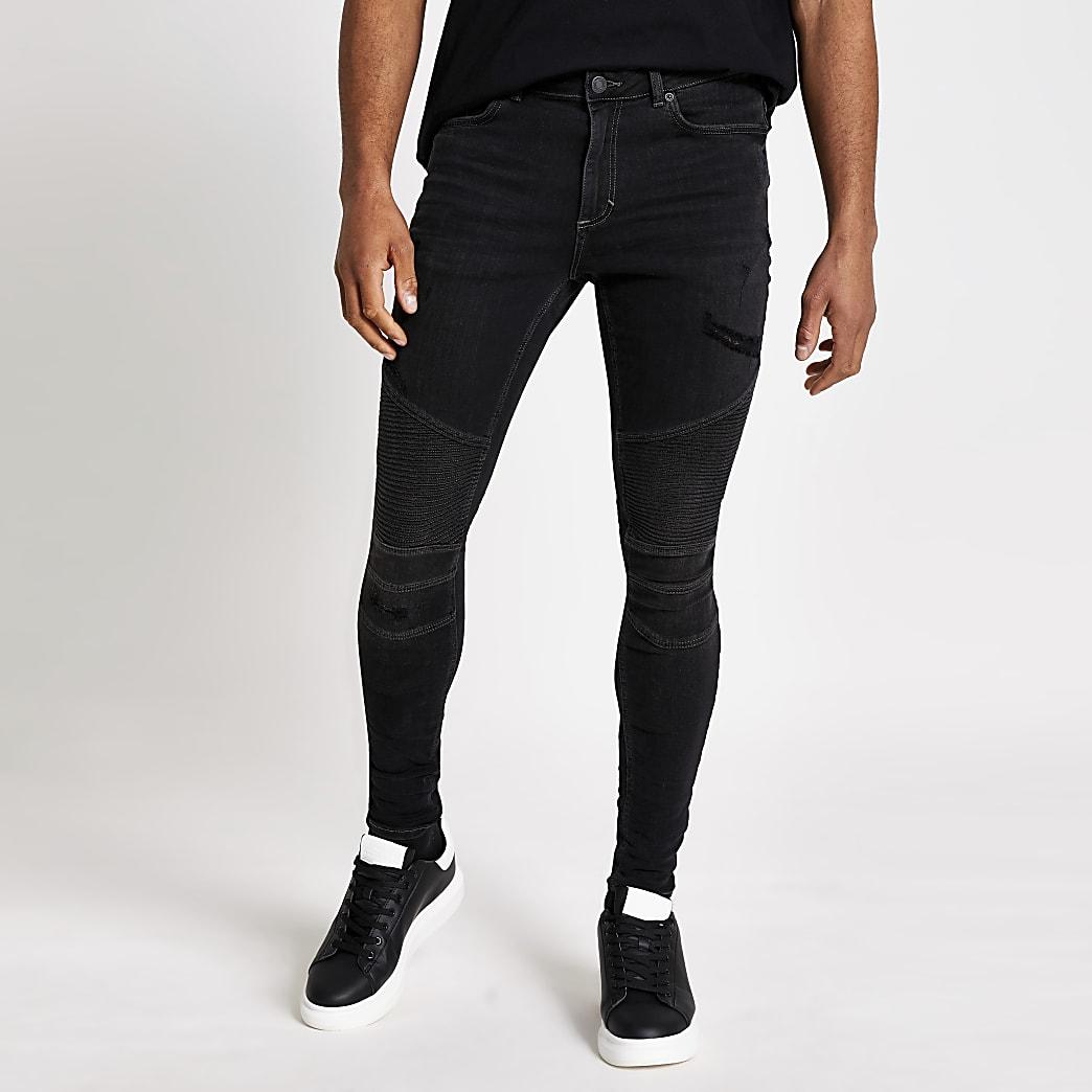 Ollie – Schwarze Spray-on-Jeans im Biker-Look