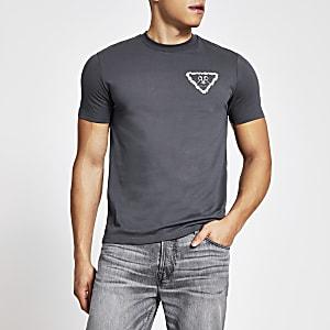 RVR – Graues T-Shirt im Slim Fit-Schnitt mit aufgestickten Blumen
