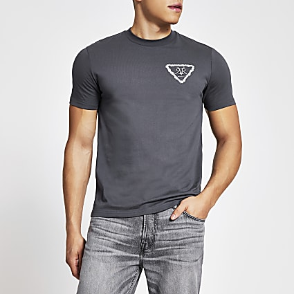 Grey RVR embroidered floral slim fit T-shirt