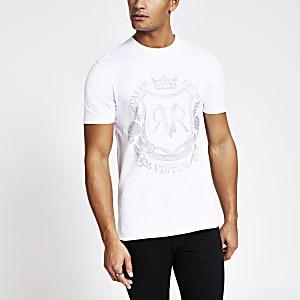 Wit slim-fit T-shirt met RVR-print en siersteentjes