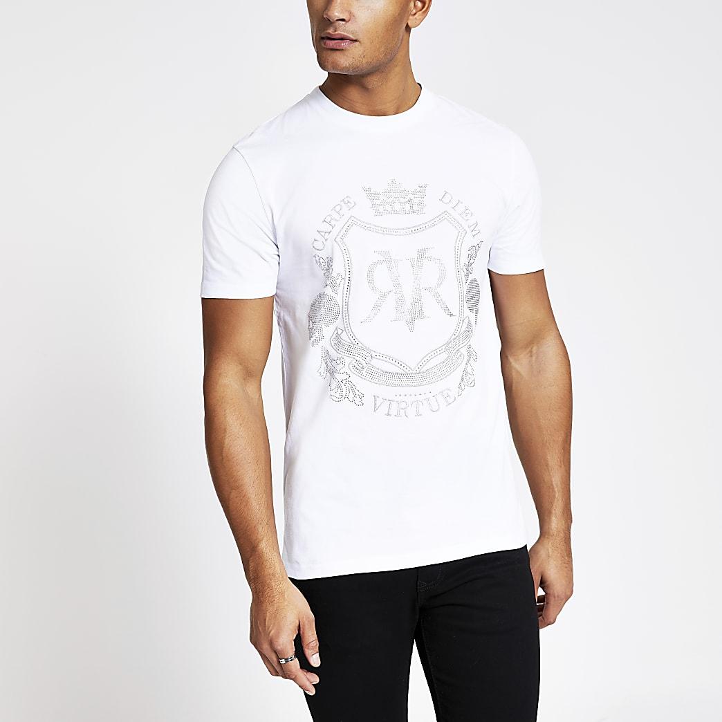 T-shirt slim blanc RVRà strass