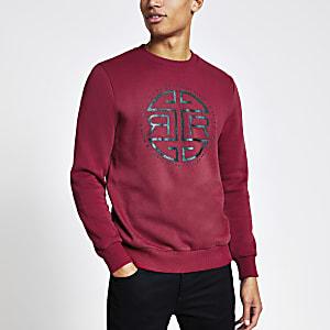 Rotes Sweatshirt mit RI-Print im Slim Fit