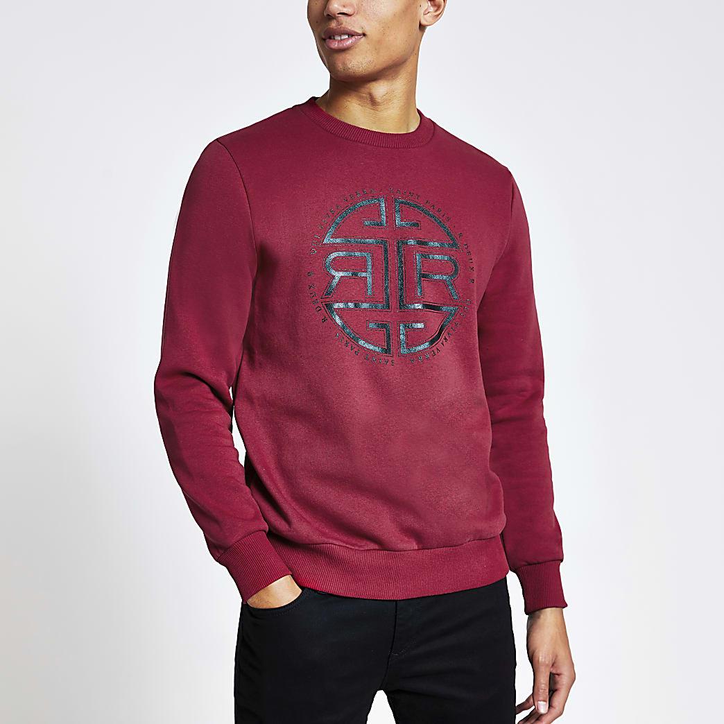 Rode slim-fit sweater met RI-print