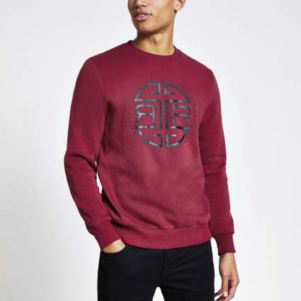 Red RI print slim fit sweatshirt