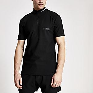 Concept – Schwarzes Slim Fit Poloshirt mit Stehkragen