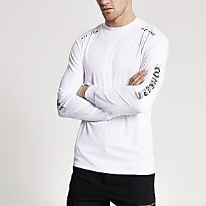 Concept – T-shirt slim blanc à manches longues