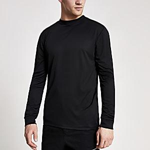 Concept – T-shirt slim noirà manches longues
