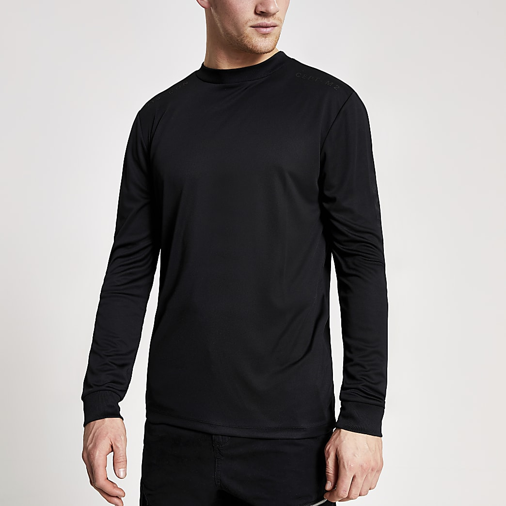 Concept black slim fit long sleeve T-shirt