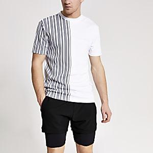 Concept – Weißes Slim Fit T-Shirt mit Streifen