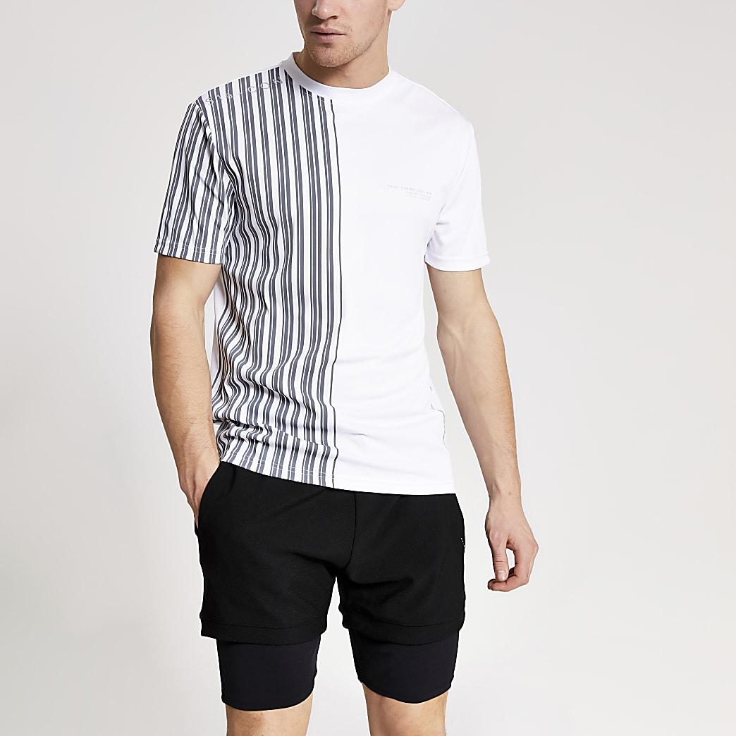 Concept white slim fit stripe-shirt