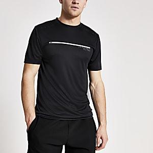 Concept – T-shirt slim noirà manches courtes
