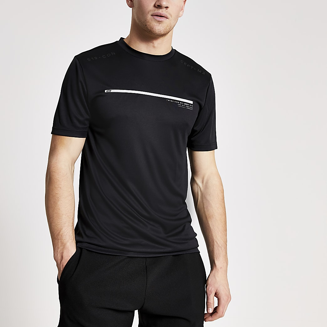 Concept - Zwart slim-fit T-shirt met korte mouwen