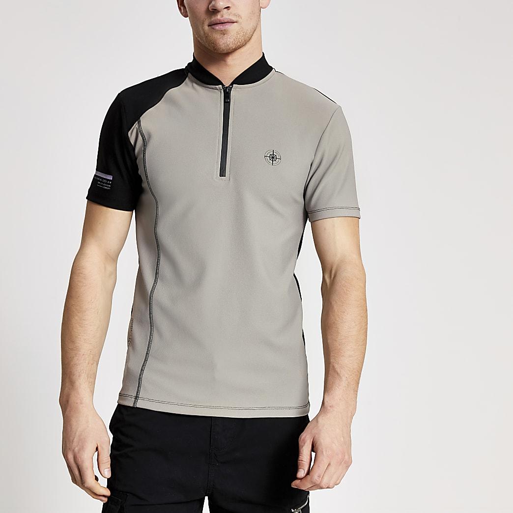 Concept - Kiezelkleurig shirt met trechterhals en halve rits