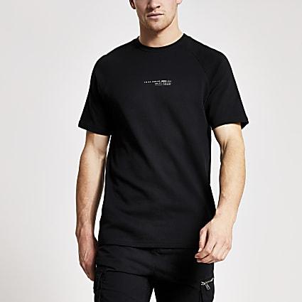 Concept white slim fit chest print-shirt