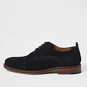 Chaussures derby en daim bleu marine à lacets