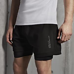 Concept – Schwarze Regular Fit Shorts mit Mesh-Einsatz
