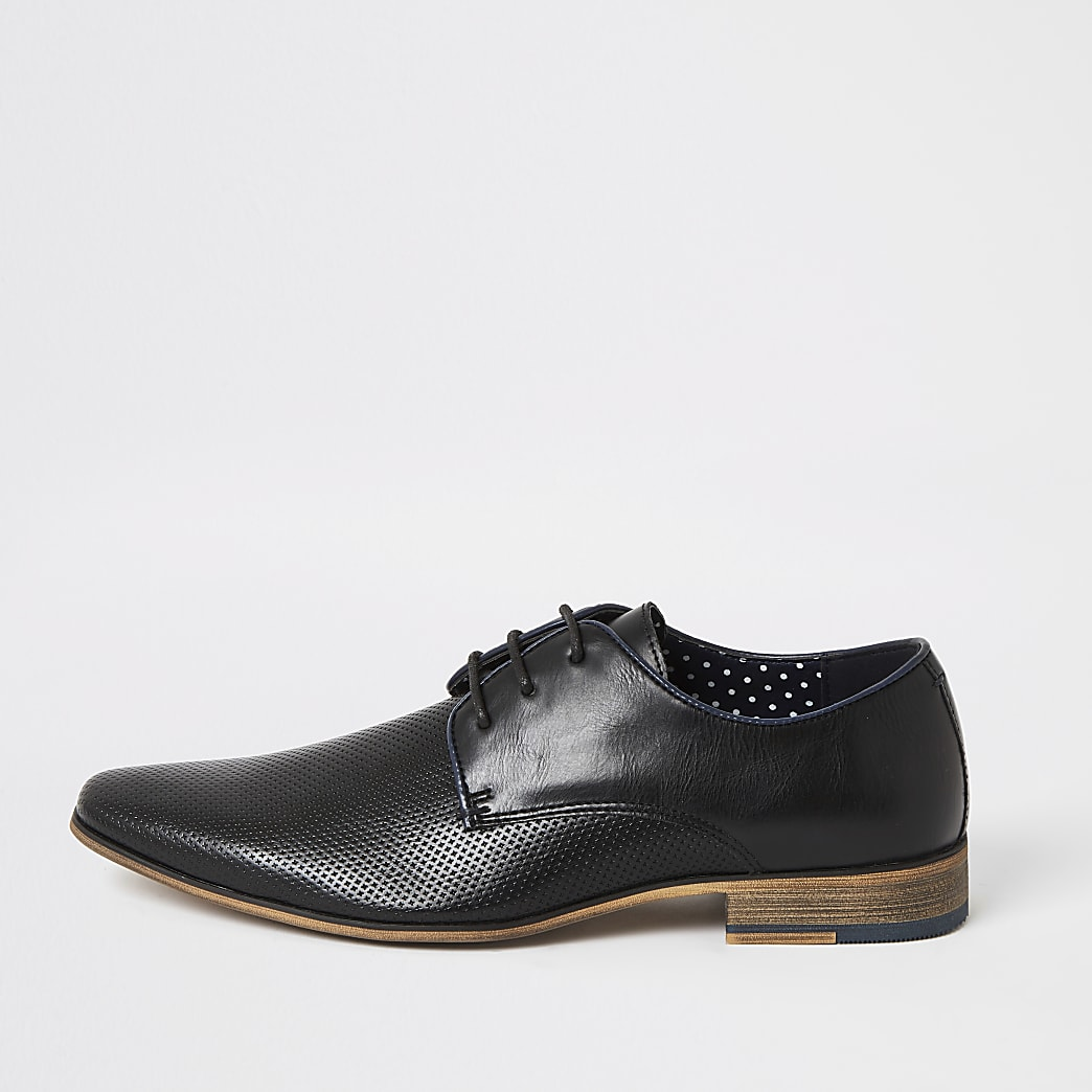 Black textured lace-up derby shoes