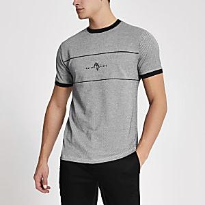 Maison Riviera – Schwarzes T-Shirt mit Fischgrätenmuster