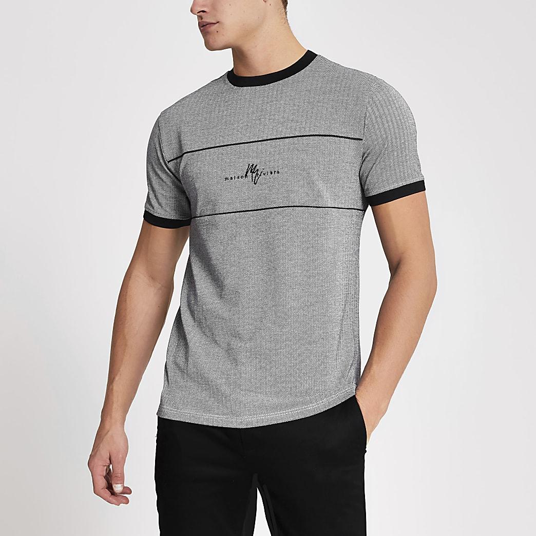MaisonRiviera- Zwart visgraat T-shirt