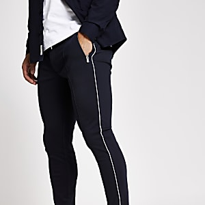Marineblauwe superskinny nette joggingbroek met streep langs zijkant