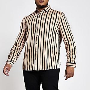 Big and Tall – Pinkfarbenes T-Shirt im Slim Fit mit Streifen