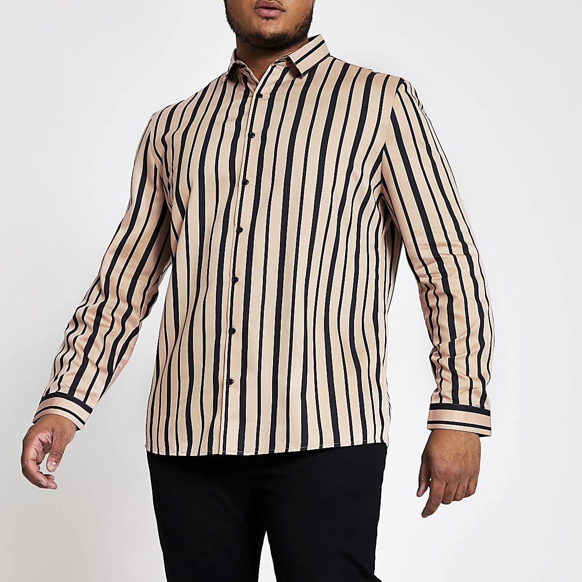 Big and Tall pink stripe slim fit shirt