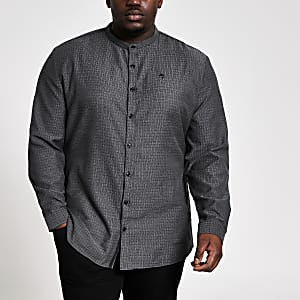 Maison Riviera - Big and Tall grijs slim-fit overhemd
