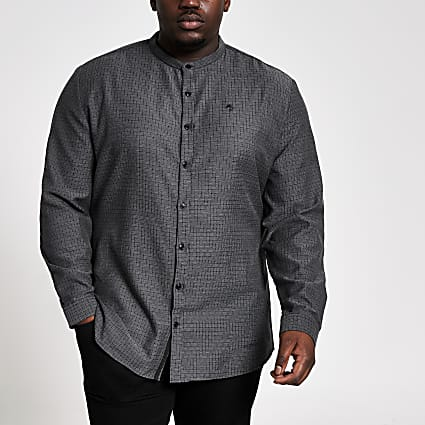 Big and Tall grey textured slim fit shirt