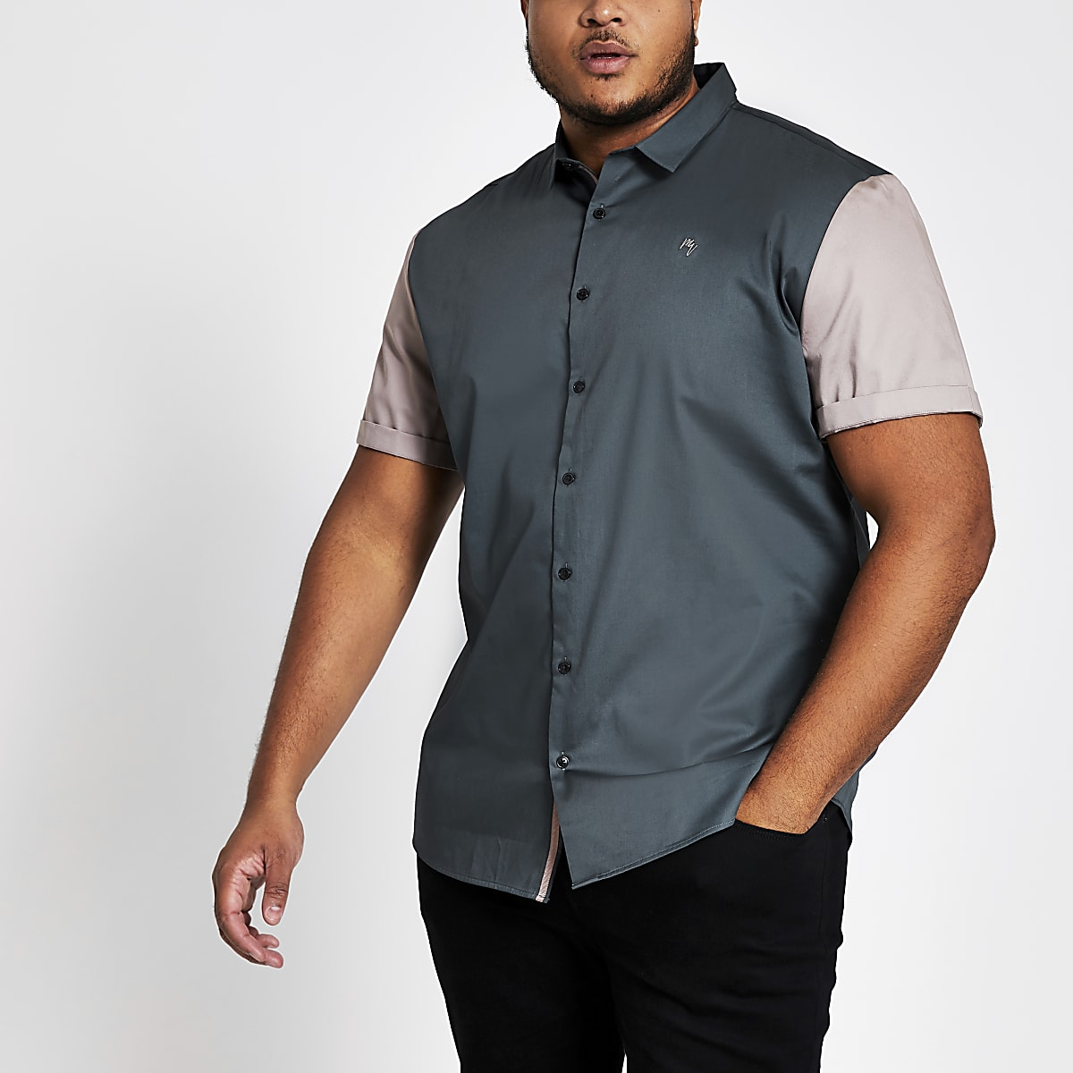 Big and Tall blue colour block slim fit shirt